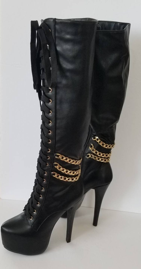 Black leather boots, 7.5 Showstopper Boots, rocke… - image 7