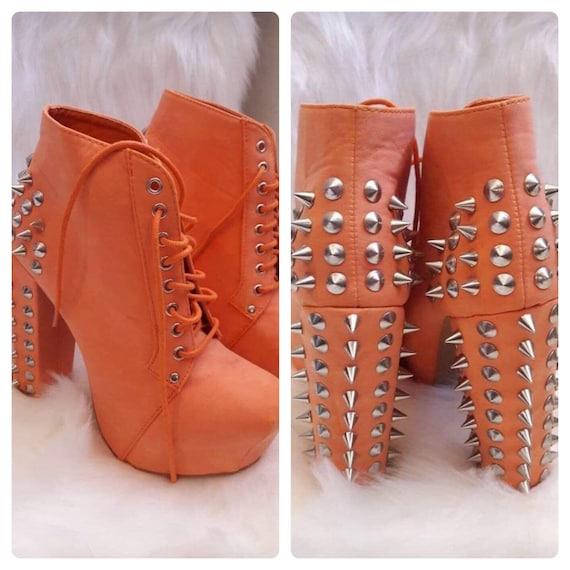 Pumps Size 6, Orange Pumps, Sexy Heels, spikey Sho