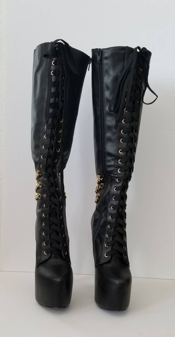 Black leather boots, 7.5 Showstopper Boots, rocke… - image 2
