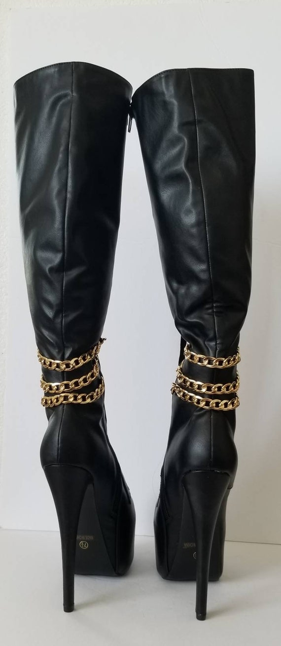 Black leather boots, 7.5 Showstopper Boots, rocke… - image 6