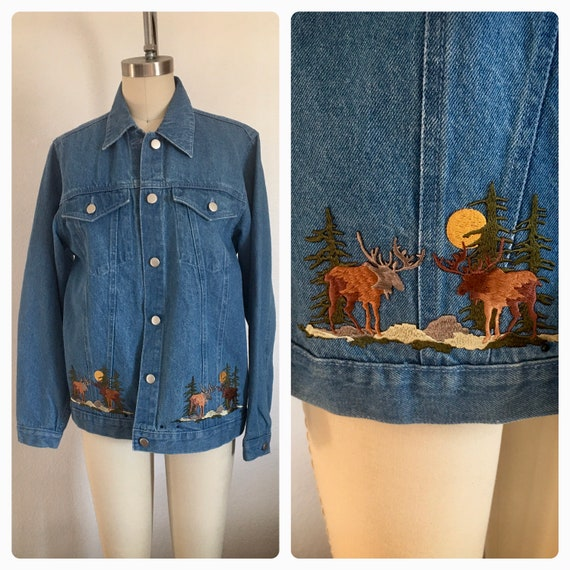 Vintage 90s, Moose/Elk womens Jean Jacket, size sm