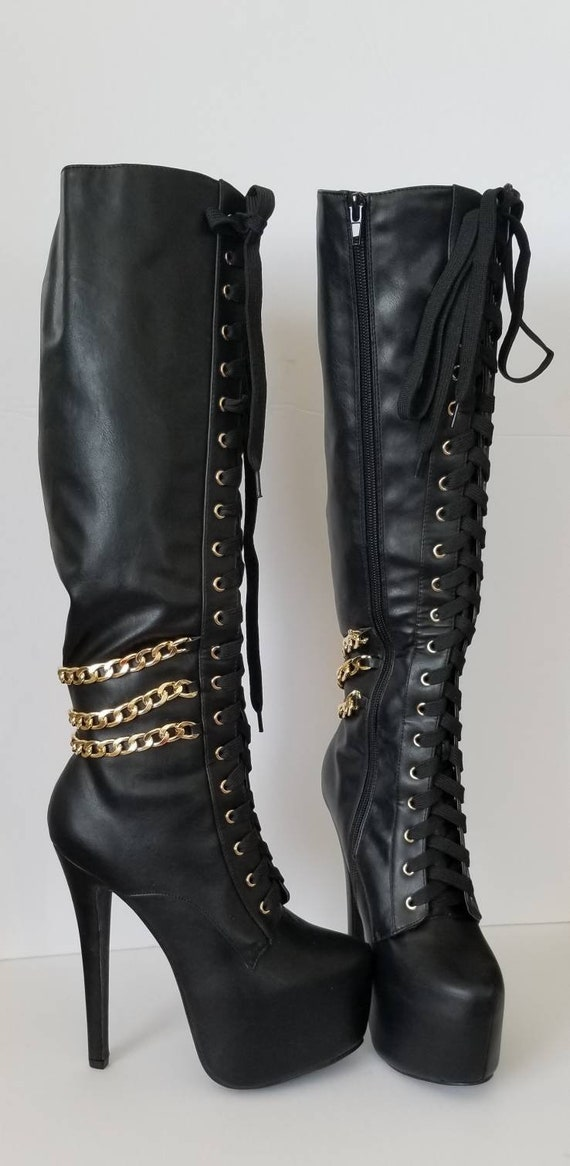 Black leather boots, 7.5 Showstopper Boots, rocke… - image 8