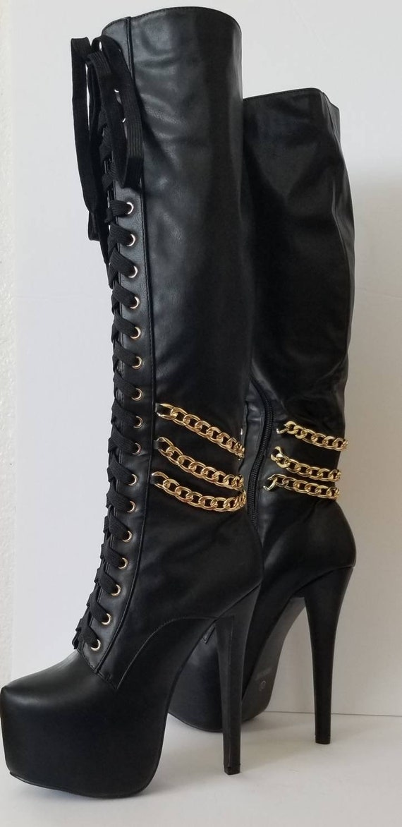 Black leather boots, 7.5 Showstopper Boots, rocke… - image 10