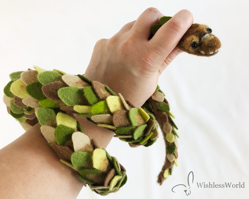 3 Ft Needle Felted Snake Brown and Green