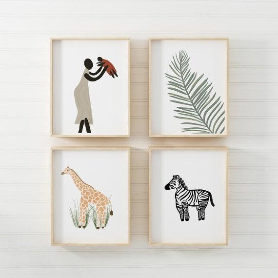 Ugandan Safari Art Prints | Nursery, Kids Bedroom & Playroom Wall Decor