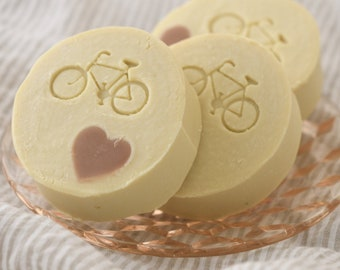 Heart and Bicycle Embed Goats' Milk Soap with Tussah Silk, All Natural