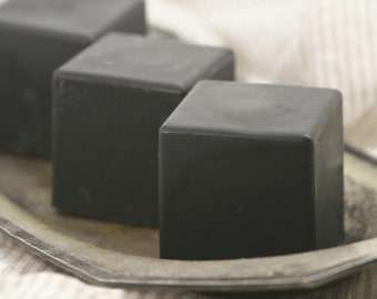 Activated Charcoal Goats Milk Soap Cube Shaped With added Silk All Natural and Organic