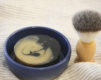 Ceramic Shave Soap Holder, Shave Soap, & Shave Brush Gift Set