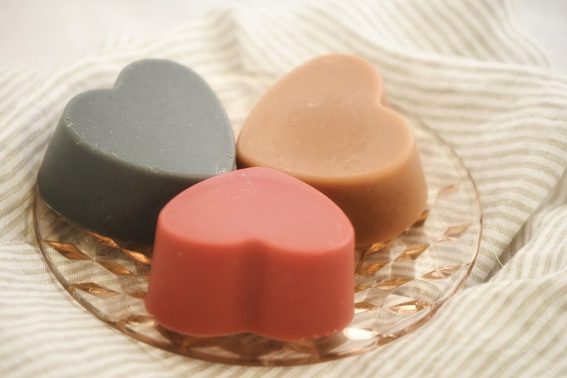Heart Shaped Goats' Milk Soap All Natural Pink or Black image 0