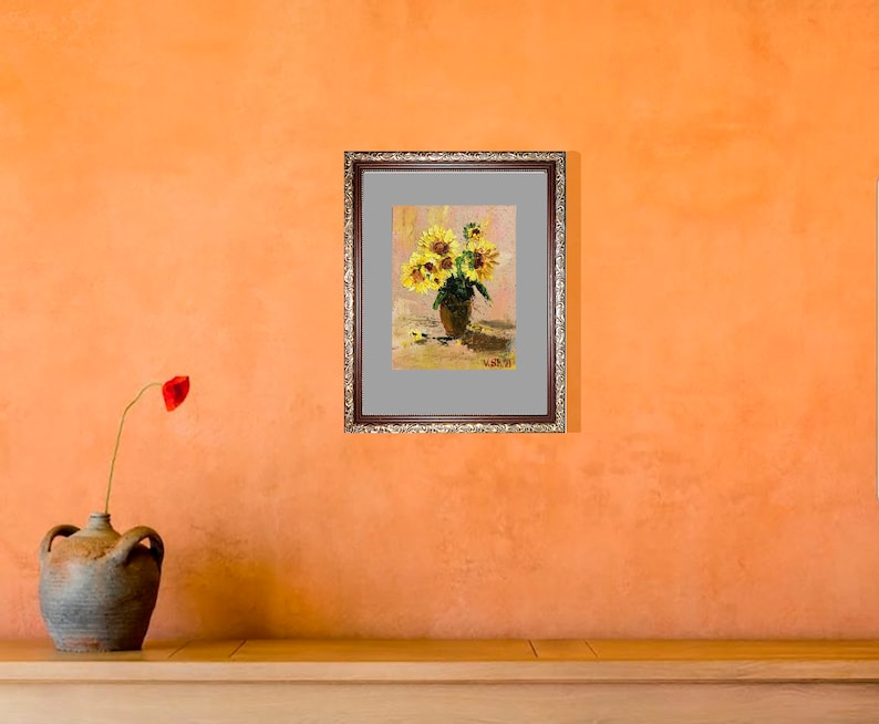 Sunflower Painting Sunflower Bouquet Art Original Oil Painting Home Decor 7 by 5/'/' by ShipOfArts  Wall Art Small Painting