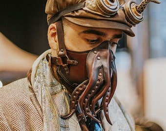 Cthulhu leather Face Mask tentacles steampunk style octopus Steampunk Mask leather armor diesel punk wasteland burning man Dystopian