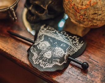 Skull Hair Barrette in Vegan Leather Creepy Gothic Hair accessory head piece Halloween Victorian Spooky Horror