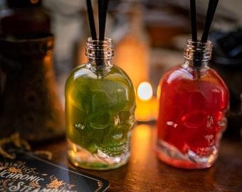 Skull reed diffuser - home decor - halloween aroma - skull glass bottle