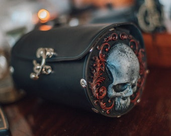 Skull Leather and resin Bag in black gothic steampunk style crossbody barrel bag Shoulder circle purse