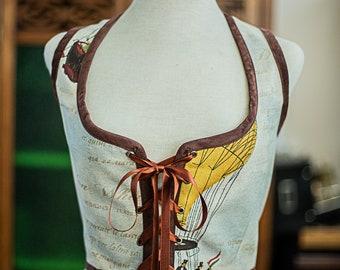 Steampunk bodice, renaissance corset vest, circus pirate costume