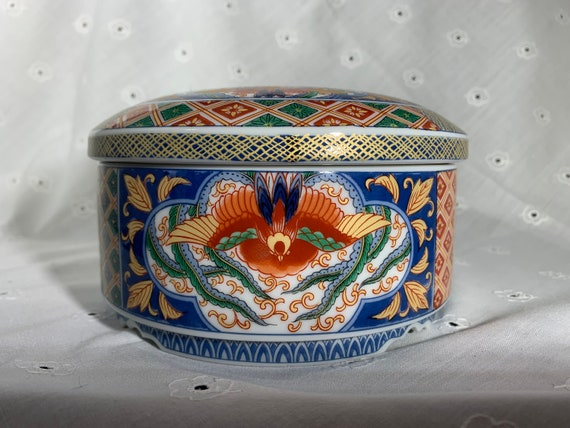 Oriental Floral Decorative plate Trinket Dish made in Japan Imari Imperial Colorful Fine Porcelain Trinket Dish