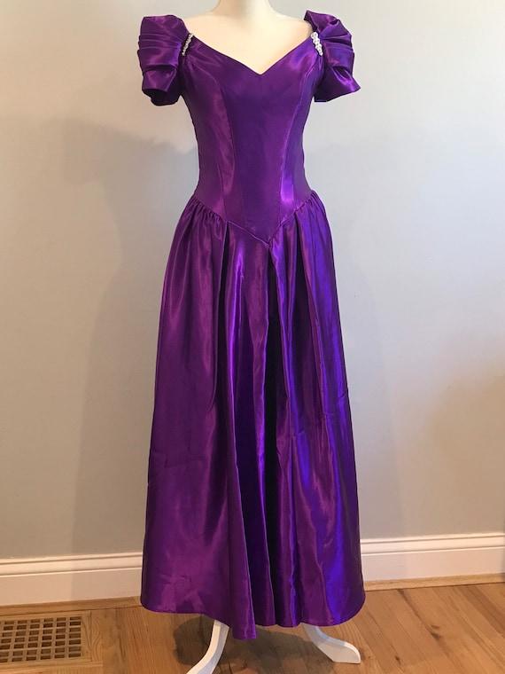 Vintage Tea Length Purple Satin Corset Style Gown