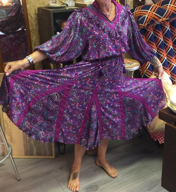 Beautiful Diane Freis 80s Dress. Boho Chic