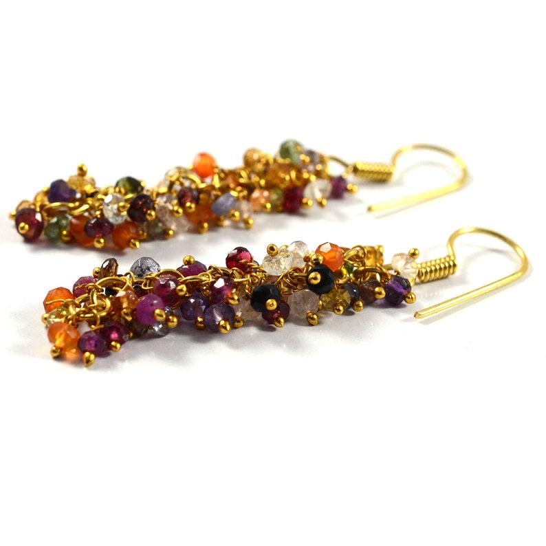 925-Sterling Silver Earring Wedding Earrings Tourmaline Gemstone Earrings Multi Gemstone Earrings Tourmaline Earrings