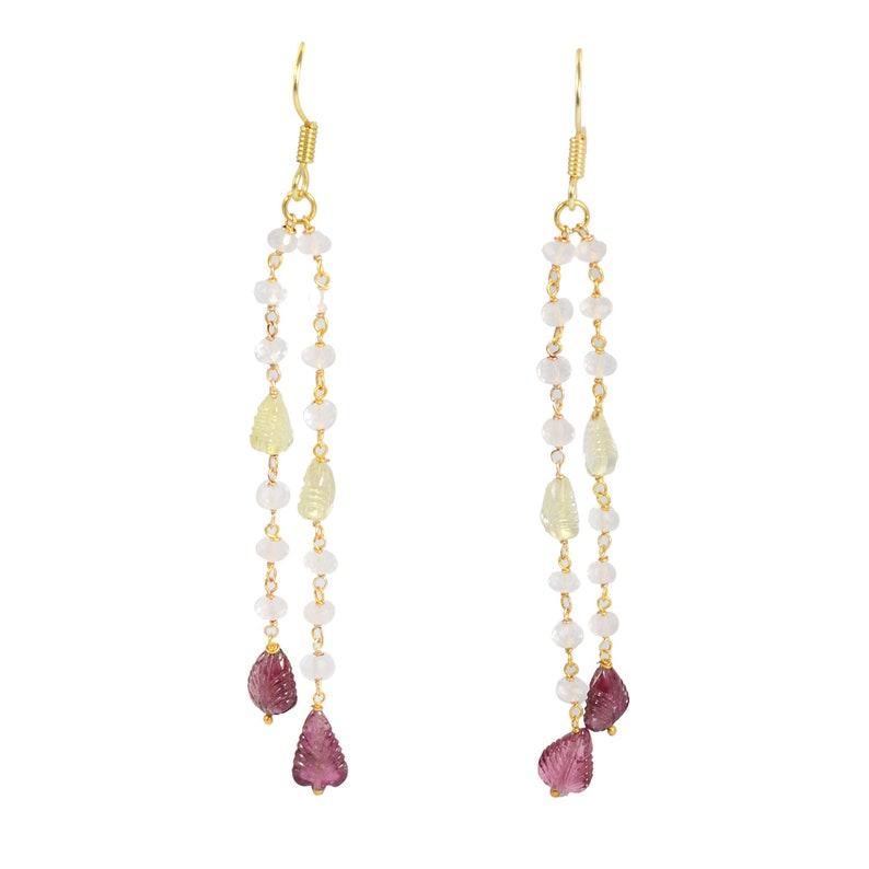 Ear Wire Earring Gemaira Dangle /& Drop Earrings Grade-A Tourmaline Earrings 925 Sterling Silver Gold Plated Natural Gemstone Earrings