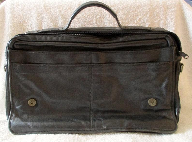 H.H Brown Original Fine Leather Goods Handcrafted Dark Brown Leather Briefcase