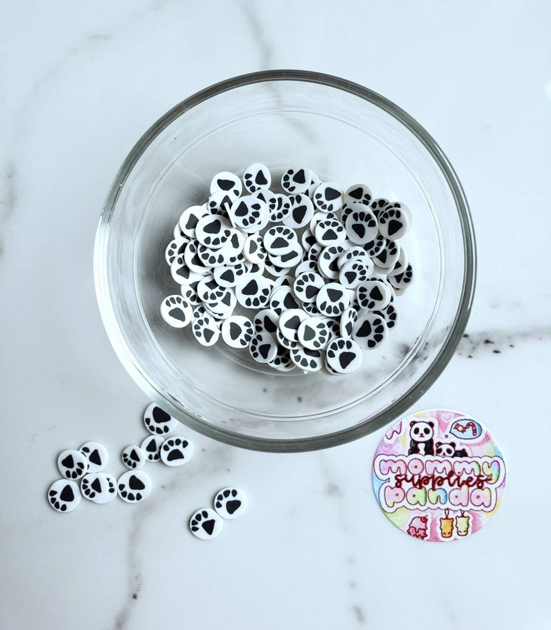 Black White Red Blue Pink Bear Animal Dog Cat Paw Print Polymer Clay Fimo Slices Slime Sprinkles