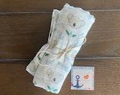 Kola Bear Swaddle Blanket, Baby, Boy, Girl, Newborn Gift, Muslin Receiving Blanket, Double Gauze, Baby Shower Gift, Super Soft Blanket