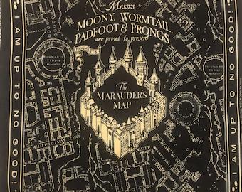Very Rare!! Harry Potter Quilt Panel Marauder's Map Hogwarts Fabric Panel Bandana