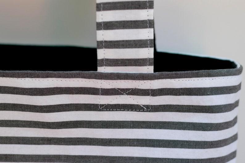 easy match two sides striped handbag tote bag for everyday Striped bag reversible handmade with 100/% organic cotton handmade black bag