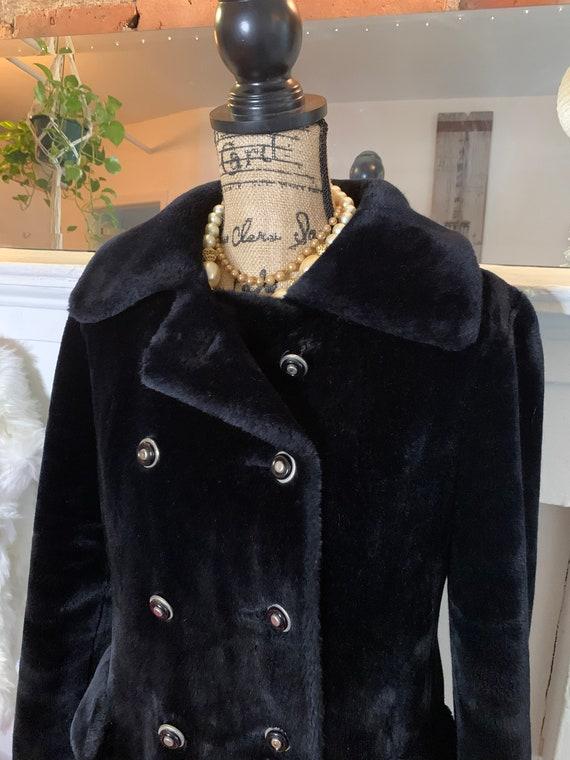 faux fur jacket two tone black brown mod minimalist fake fur winter car coat 60s black faux fur coat medium minimal faux fur overcoat