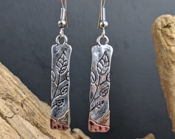 boho earring , bohemian earring , silver earring , leaf earrings , etched metal earrings , dangle earrings