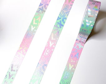 15mm x 7m Pink Green Tropical Spring Floral Gold Foil Washi Tape