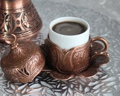 Luxury Turkish Coffee Set Espresso Set of 2 with Copper Coffee Pot, Traditional Stylish Design
