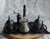 Turkish Coffee Set, Greek Arab Coffee Set, Copper Coffee Pot, Coffee Cup, Handmade Copper Coffee Pot, Christmas gift, Copper Tray