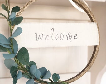 Wooden Hoop Welcome Wreath/ Welcome Embroidery Hoop Wreath/ Embroidery Farmhouse Wreath/Hoop Wreath