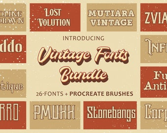 26 Vintage fonts Pack | Rough Retro Script | Handmade whiskey label Typeface | Typography & Old Artsy Lettering | Textured Style Fonts