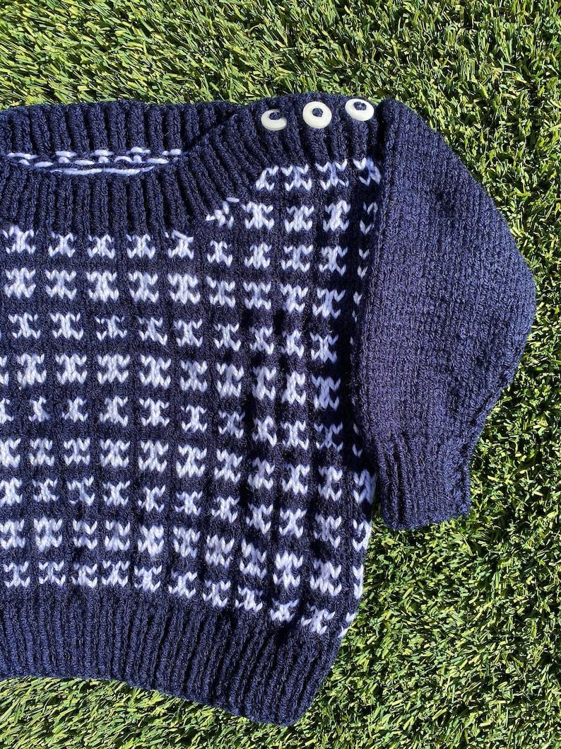 Navy Patterned Knit