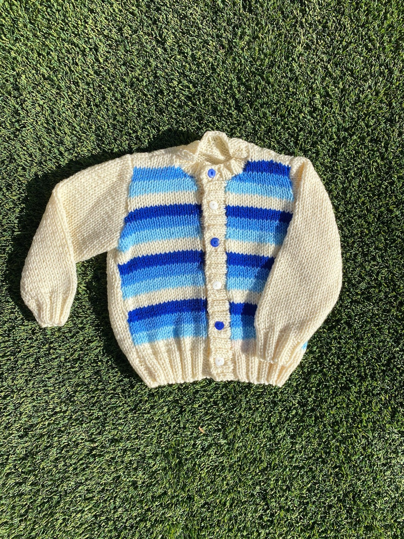 Blue and White Stripe Knit