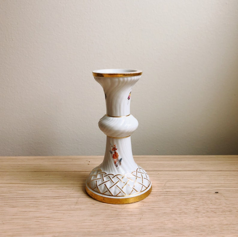 German Candle Holder with Beetle and Flower Pattern Antique Meissen Floral Candlestick Porcelain with Gilded Gold