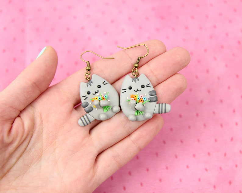 Lovely Kitty Earrings Daughter Gift Mother Day Gift Animal Jewelry Spring Pusheen Earrings Cat Lover Gift Pusheen Stocking Stuffers