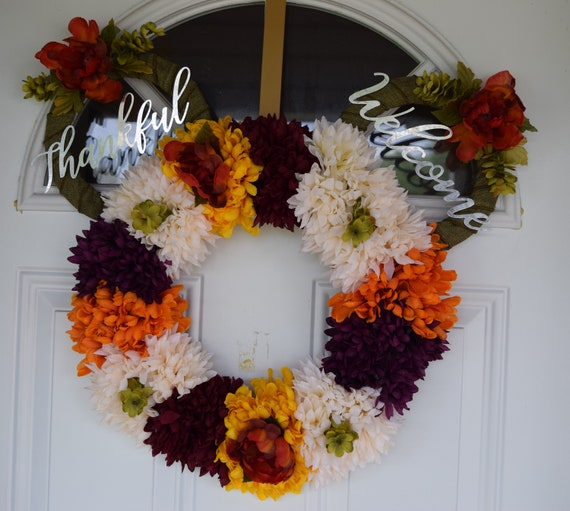 Mickey Mouse Inspired Fall Front Door Flower Wreath Etsy