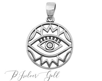 BULK 5 All seeing eye charms dark silver tone stainless steel WT213