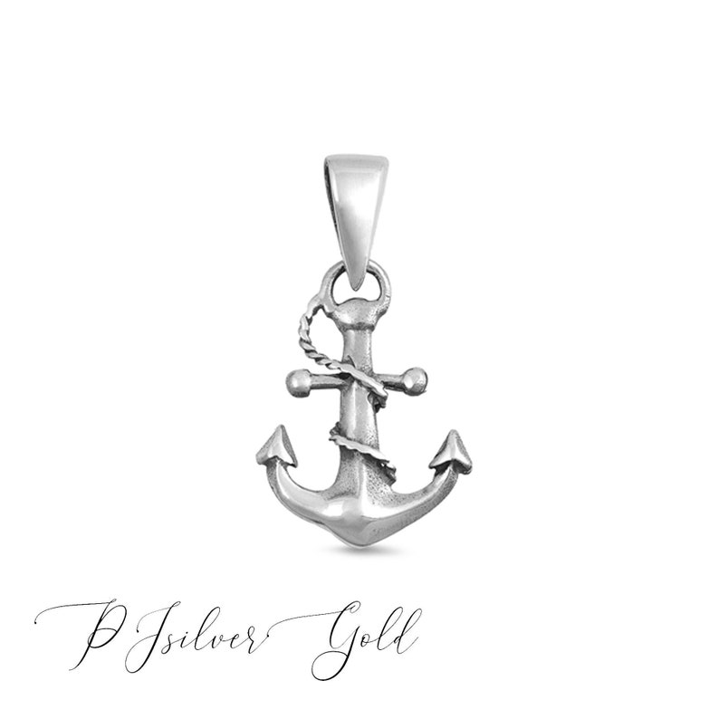 Chain Not Included 925 Sterling Silver High Polished Twisted Rope Boat Ship Anchor Nautical Pendant Charm