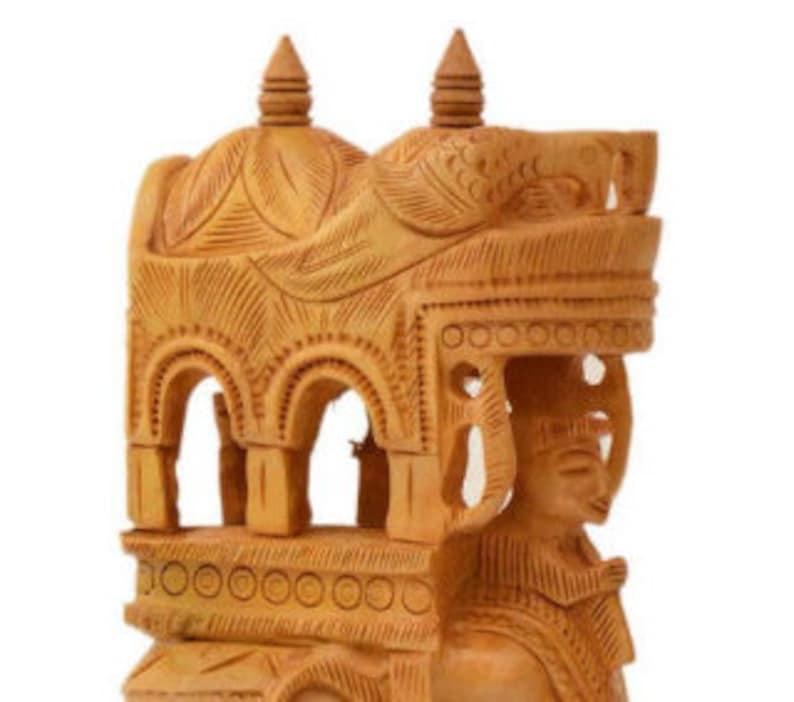 Wooden Elephant figurine Handmade figurine Vintage Art 8.5 Tall Home Decor Feng Shui decor sculpture wedding gift