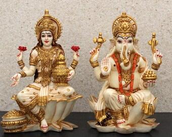 "7"" Lakshmi Ganesha Resin Statue, Hindu Holiday Goddess Diwali Gift, Ganesha Idol for Altar, God of Wealth Home Decor Housewarming Gift"