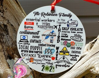 Christmas 2021 Ornament, 2021 The Year Of, Personalized Pandemic Ornament, Christmas Ornament, Survived The Pandemic, 2021 The One Where