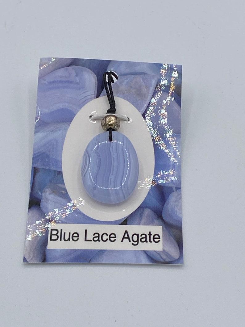 Blue Lace Agate corded pendant