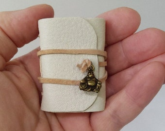 Mini Journal, Laughing Buddha, Tiny Book, Leather Journal, Yoga Journal, Mini Book, Doll Journal, Mini Diary, Itty Bitty Book, Tiny Journal