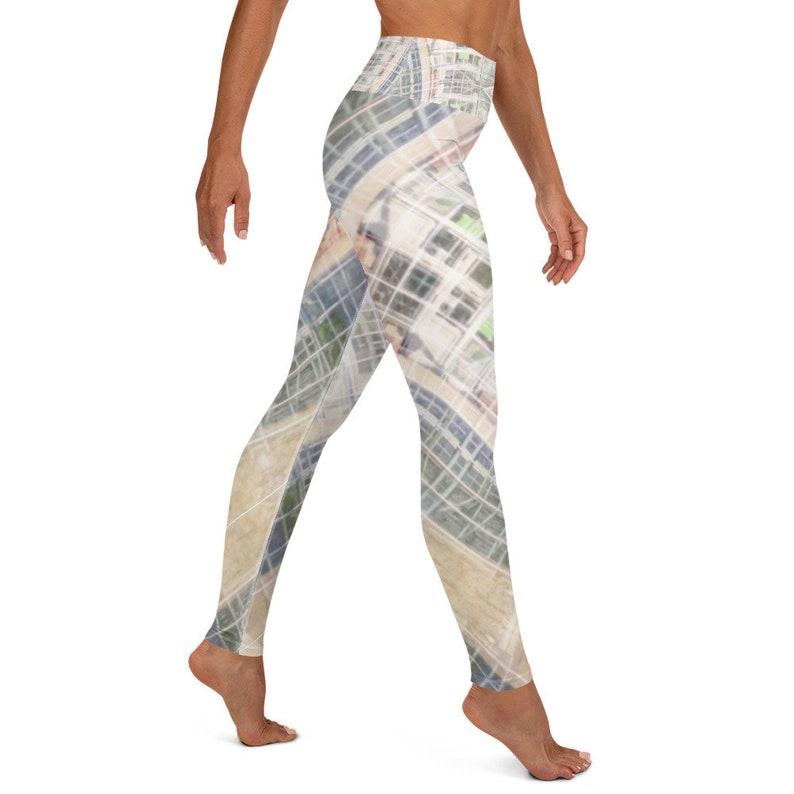 The Sacred Grid Lines Yoga Leggings; Multicolored Womens Yoga Pants by Infinity Design Yoga