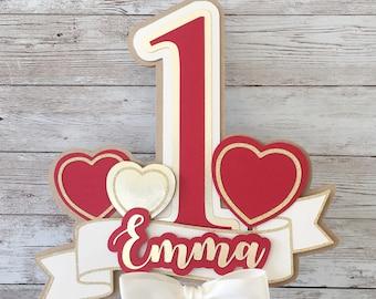 Valentine's Day Birthday Cake Topper, Valentine's 1st Birthday Cake Topper, Heart Cake Topper, Valentine's Birthday Cake Smash